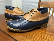 LL Bean Maine Hunting Duck Boots Low Tan Blue Women Size 10 Or Mens Size 8 M USA