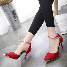 Women Faux Suede Pointed Toe Office Shoes Stiletto Ankle Strap High Heels Sanda