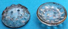 6 Hermoso 2cm VINTAGE 1930s Francés Cristal Plateado Moteado BOTONES