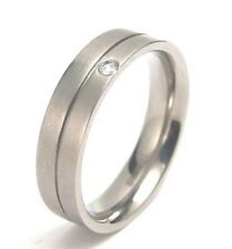 Men's Ring Titanium Comfort Fit Band Clear Stone Satin Finish New Size 10