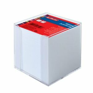 Herlitz 9x9x9cm Transparent Cube Note Box with White Sheets