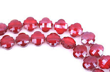 10 RED QUATREFOIL Crystal Glass Beads, checkerboard faceted,  20mm, bgl1347