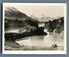Suisse, Lac de Montsalvens et le Moléson  Vintage silver print. Switzerland. Sch