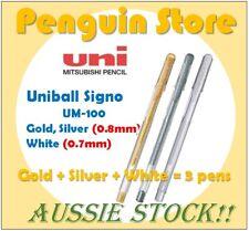 Uniball Signo UM-100 Gold+Silver+White 3pens Aussie stock Japan pen
