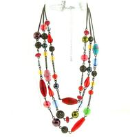 Vintage Glass Bead Floral Necklace Triple strand