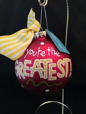 """Coton Colours """"you're The Greatest """" Bright Red Glass Ornament."""