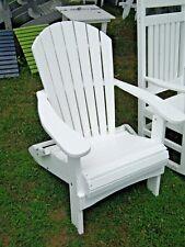 AMISH MADE POLY WOOD - Folding Adirondack Beach/Porch Chair - White CUSTOMIZABLE