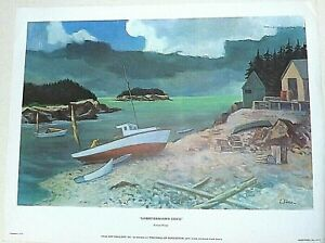 """ERNEST FIENE """"LOBSTERMANS COVE""""  LITHOGRAPH PRINT 17 X 22 INCHES PLATE SIGNED"""