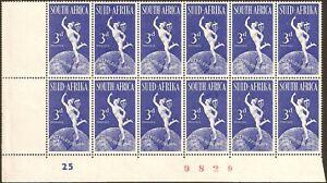 "South Africa 1949 3d U.P.U. white mark on ""3"" VARIETY, SG.130, UM block of 12"
