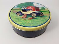 Vintage - Tin Tins Box Container Bear w/ Antique Car & Chocolate Chip Cookies