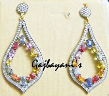 SPECTACULAR PAVE SINGLE CUT DIAMOND & MULTI COLORED SAPPHIRE GOLD SILVER EARRING