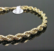 Real 10K Men's Yellow Gold Rope Bracelet 5mm 7.5 Inches A3B2, 10kt, Semi-hollow