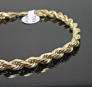 "10K Men Yellow Gold Rope Bracelet 5mm 8"" Inches Real Gold"