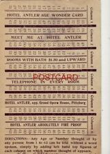 "1909 MEET ME AT HOTEL ANTLER, PITTSBURG, PA. ""The Wonder Card"" Any age or number"