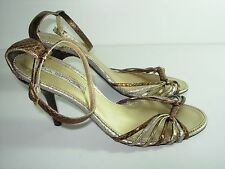 WOMENS BRONZE GOLD SILVER LEATHER VIA SPIGA SANDALS HIGH HEELS SHOES SIZE 8.5 M
