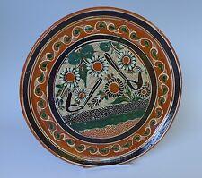"Mexican pottery Tlaquepaque Tonala petatillo plate style of BERNABE 11"" diam."