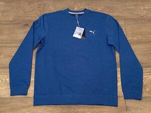 Puma Cloudspun Crewneck Golf Sweater Star Sapphire Heather SZ M ( 597596 09 )
