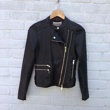 Pull & Bear Black Faux Leather Cropped Biker Jacket Size S (6-8)