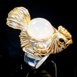 Handmade Moonstone Ring Silver 925 Sterling  Size 6.5 /R155707