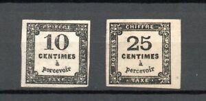 10c et 25c timbres taxes n°2A et n°5A neufs gomme partielle