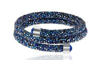 Crystal  Double Wrap Bracelet Made with Swarovski Elements Blue