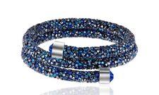 Crystal  Double Wrap Bracelet Made with Swarovski Elements Blue