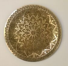 Mid-Century Modern Round Brass Sunburst Tray/Wall Hanging, Intricate Design, MCM