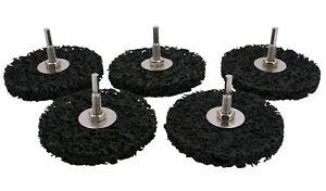 5X Reinigungsvlies Grob-Reinigungsscheibe 100mm mit 6mm Schaft für Akkuschrauber