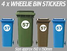 4 x Wheelie Bin Numbers Custom House Number Road Street Graphic Stickers Circle