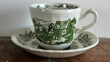 Royal Art Pottery English Countryside Green & White Cup & Saucer