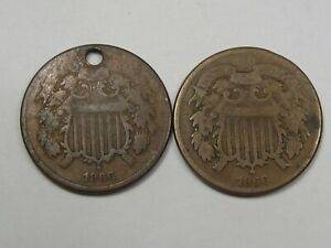 2 - 1866 US Two Cent Piece Coins (Problems: 1 w/ Hole & 1 w/ Graffiti).  #51