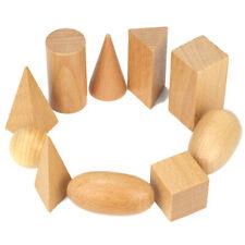 Set of 10 Wooden Geometric Solids Preschool Geometric Shapes Montessori Toys