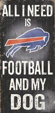 Buffalo Bills Football and Dog Wood Sign [NEW] NCAA Man Cave Den Wall