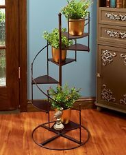 "Plant Stand Spiral Staircase Display Shelves 6 Steps 37"" High Metal Wood NEW"