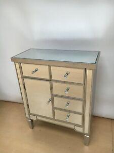 Valetta Silver Mirrored 5 Drawer 1 Door Wood Cabinet Sideboard Cupboard Chest