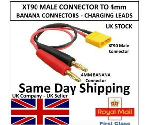 XT90 Male Connector to 4mm Banana Plug Battery Charging Charger Cable Lead Lipo
