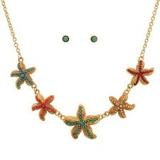 """16"""" Gold Beach Red Green Starfish Sea Life Necklace & 1/4"""" Stud Earrings Set"""