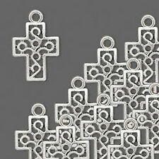 Cross Charms Antiqued Silver Pendant Christian Jewelry Lot of 8