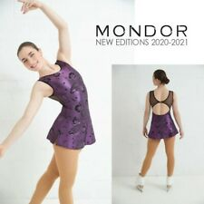 MONDOR Purple/Black Glitter Figure Skating Competition Dress NEW Adult X-Large