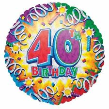 "AGE 40 HAPPY 40TH BIRTHDAY 18"" FOIL BALLOON EXPLOSION PRISMATIC"