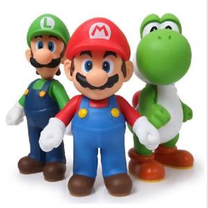 Super Mario Bros - MARIO, LUIGI, YOSHI 3 Figuren Geschenk Neue Kinder Spielzeug