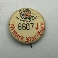"Vintage Newark Star Eagle Newspaper Contest 1""Button Pinback Muggs McGinnis   S4"