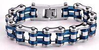 Men's Stainless Steel Double Link Silver Blue Bike Chain Bracelet USA Seller!