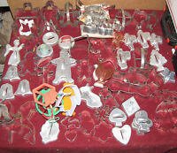 78 Vintage Cookie Cutters Aluminum Tin Plastic Christmas Halloween Animals