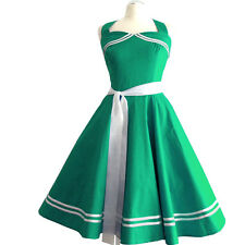 50er Rockabilly Vestito Sottoveste PIN UP PARTY COTONE S/ML 113 VERDE