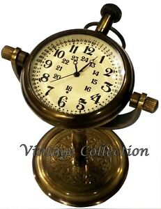 Nautical Antique Maritime Brass Table Top Clock Vintage Office Home Decor Clock