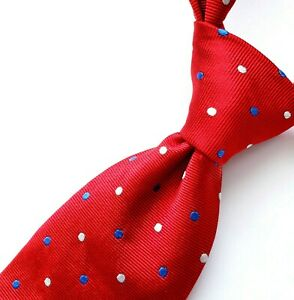 """BROOKS BROTHERS Makers Tie RED Silk Blue White POLKA DOTS Woven ENGLAND 57"""" L"""