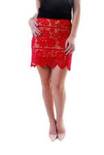For Love & Lemons Women's New GIANNA Floral Lace Mini Skirt Red RRP £152 BCF610