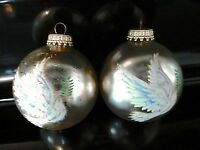 """Christmas Tree Balls Hanging Glass Ornaments Set of 2 Silver White Doves 3"""" tall"""