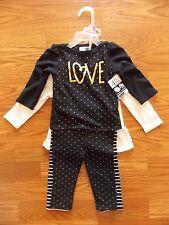 NWT VITAMIN KIDS 4 Piece Set Leggings Black White Gold Bow Shirts 12M